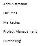 Basic listed items