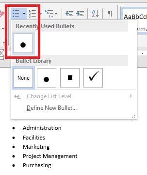 word convert a bulleted list to smartart