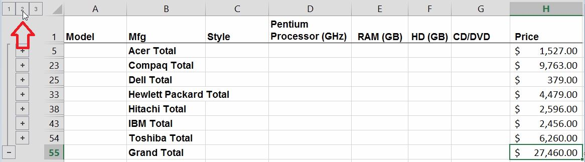 Excel Automatically Subtotal Raw Data
