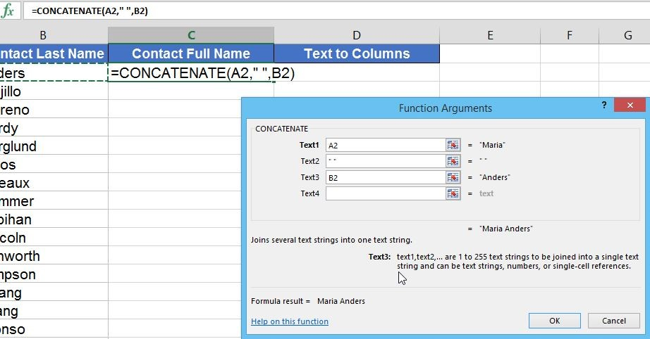 Excel Use Flash Fill Concatenate And Text To Columns