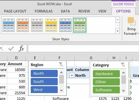 Excel: PivotTable, a PivotChart and a Slicer on One Sheet