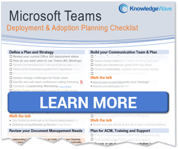 Learn More about our Microsoft Teams Adoption Planning Checklist