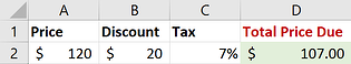Screenshot of correct Excel calculation