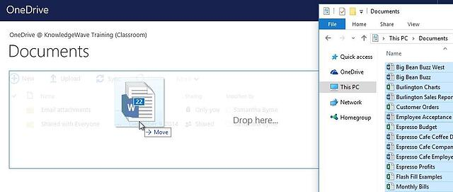 Drag and drop files into OneDrive
