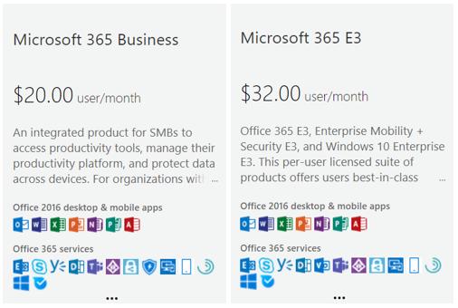 Screenshot of Business vs E3 licensing
