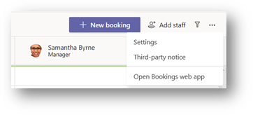 Launching the Bookings App from within Teams