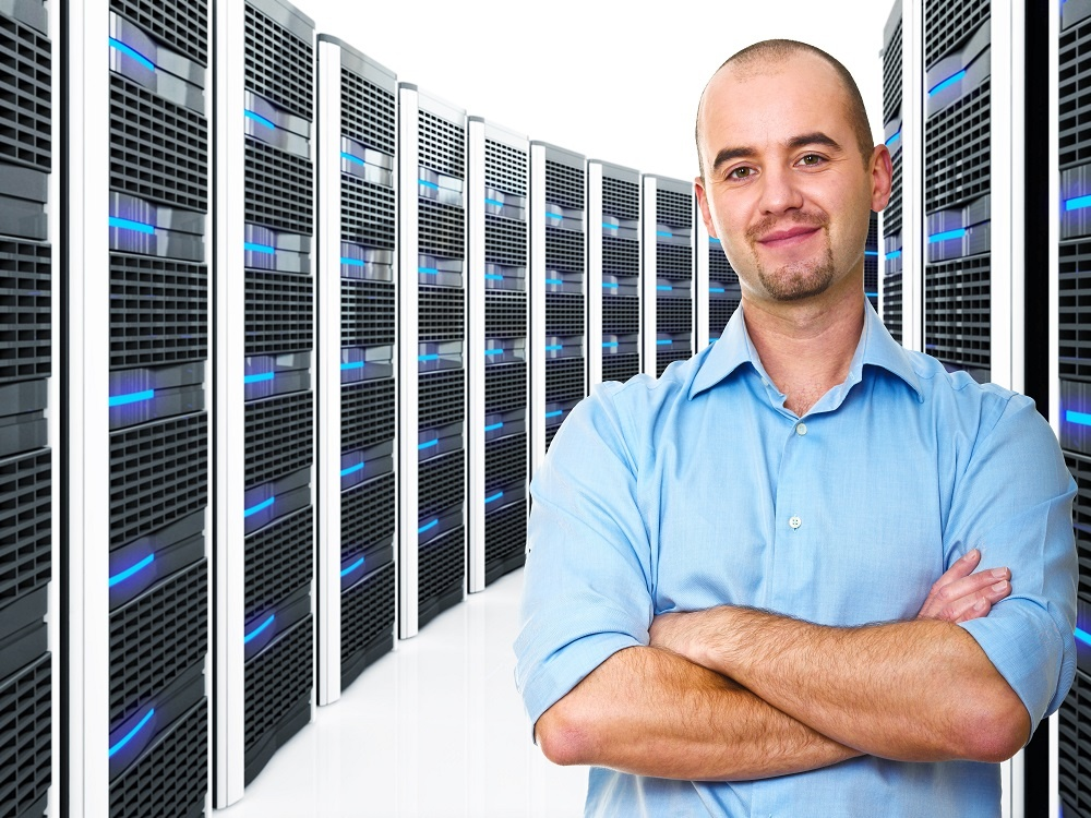 Man standing in data center