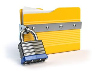 Image of folder with padlock around it