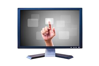 Computer monitor with admin's hand