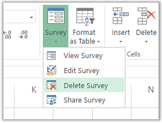 Survey menu in Excel