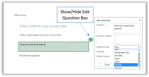 Show or hide the edit question box