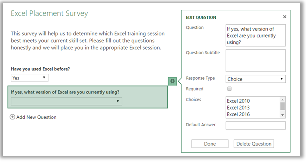 Excel multiple choice survey question