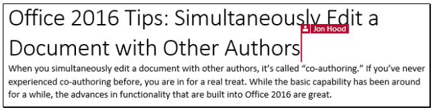 Office 2016 Tips: Simultaneously Edit a Document with Other