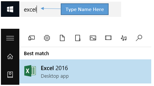 Type Excel in the start menu and Cortana will find it for you