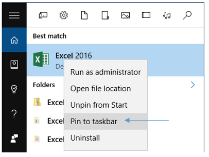 Pin to taskbar in Windows 10