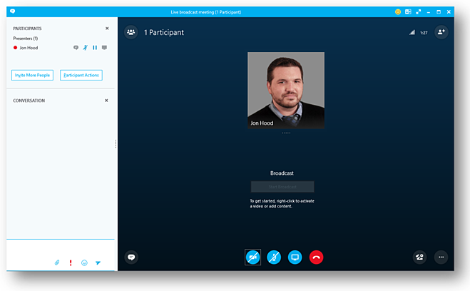 Skype Meeting Broadcast Team Member Interface