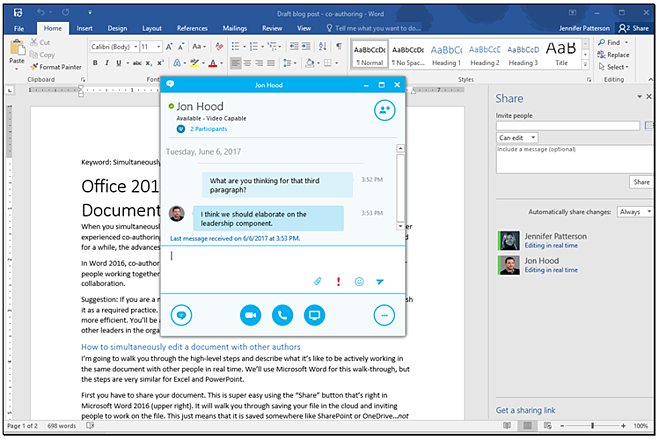 Office 2016 Tips: Simultaneously Edit a Document with Other Authors