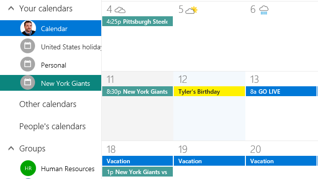 screen shot of calendar with New York Giants games