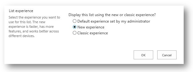 SharePoint list experience settings