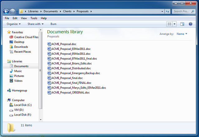 screenshot of version control nightmare