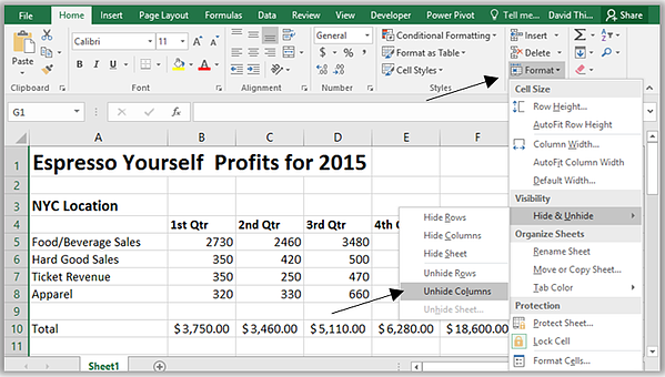 Unhide all columns or rows in Excel