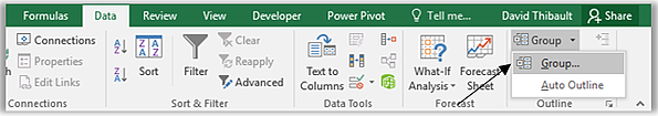 Group columns and rows in Excel to hide and unhide them