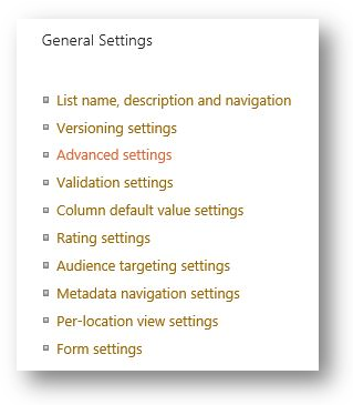Sharepoint doc library advanced settings
