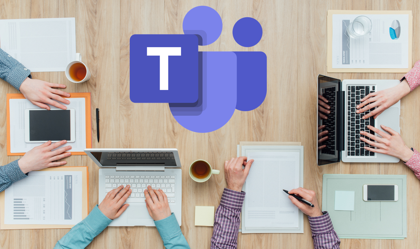 Coworkers working with Microsoft Teams
