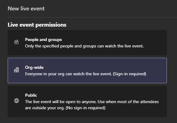 Live Event Permissions