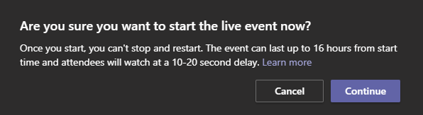 Starting an Event Confirmation