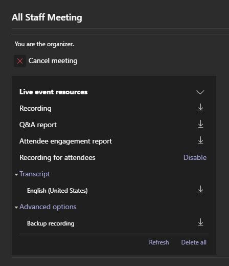 Live Event Recording Options