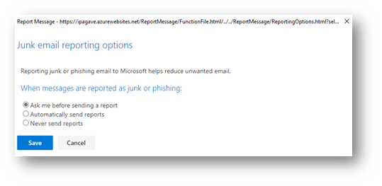 Junk Email Reporting Options