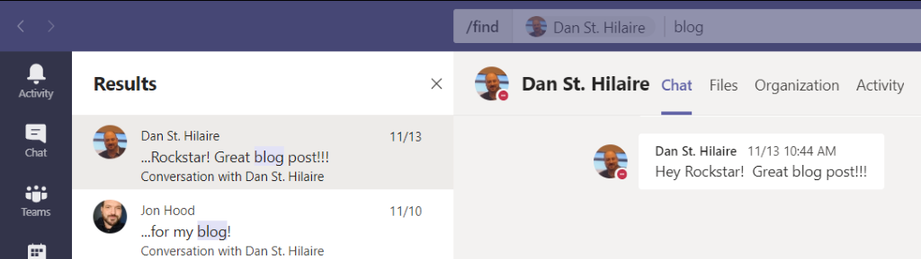 Searching in Chats in Microsoft Teams