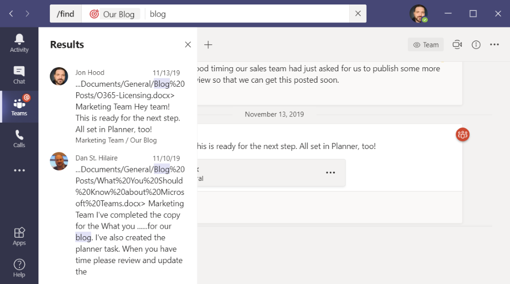 Searching in Channels in Microsoft Teams