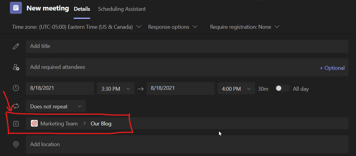 Scheduling a Microsoft Channel Meeting